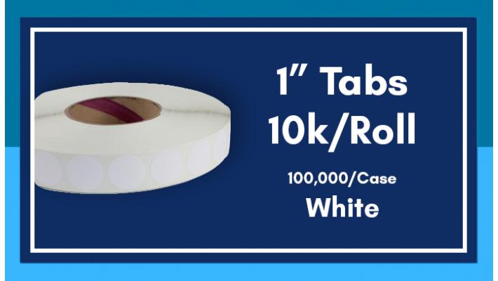 """1"""" White Tabs - 10K/Roll"""