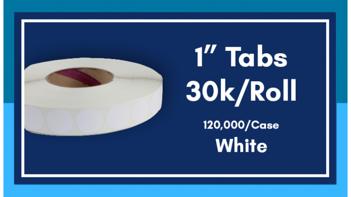 "1"" White Tabs - 30K/Roll"