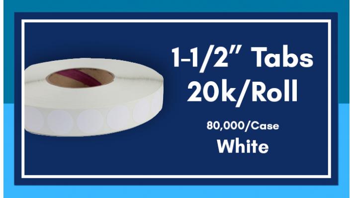 """1-1/2"""" White Tabs - 20K/Roll"""